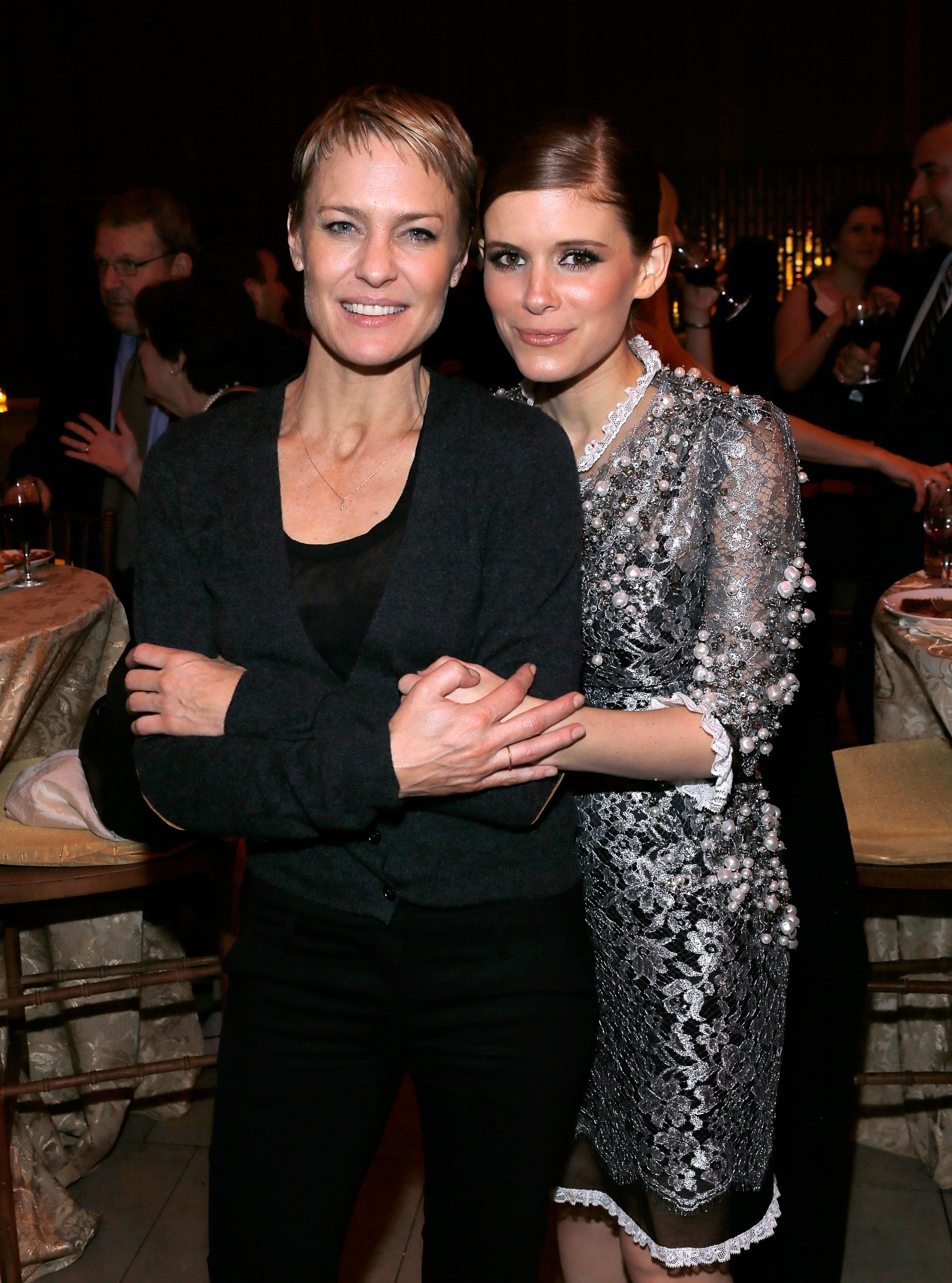Actors Robin Wright and Kate Mara attend Netflix's House Of Cards New York premiere after-party at Alice Tully Hall on Jan. 30, 2013, in New York City.
