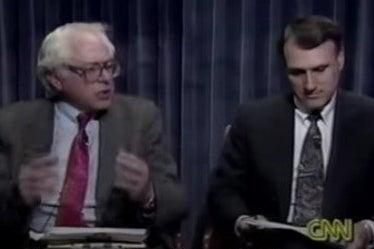 Screenshot of video of Bernie Sanders speaking about gay rights in 1993.