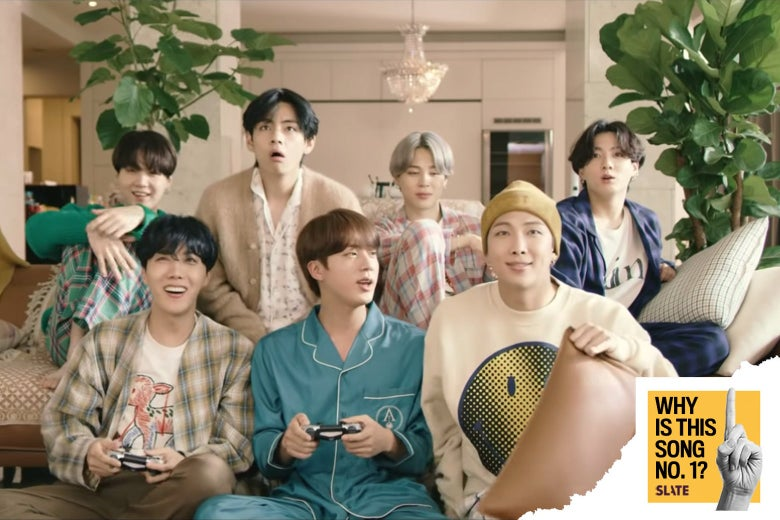 BTS hanging out together on the couch.