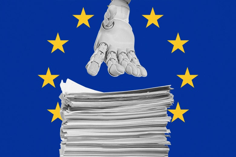 Against a blue background with yellow stars, a robot hand reaches for a stack of papers.