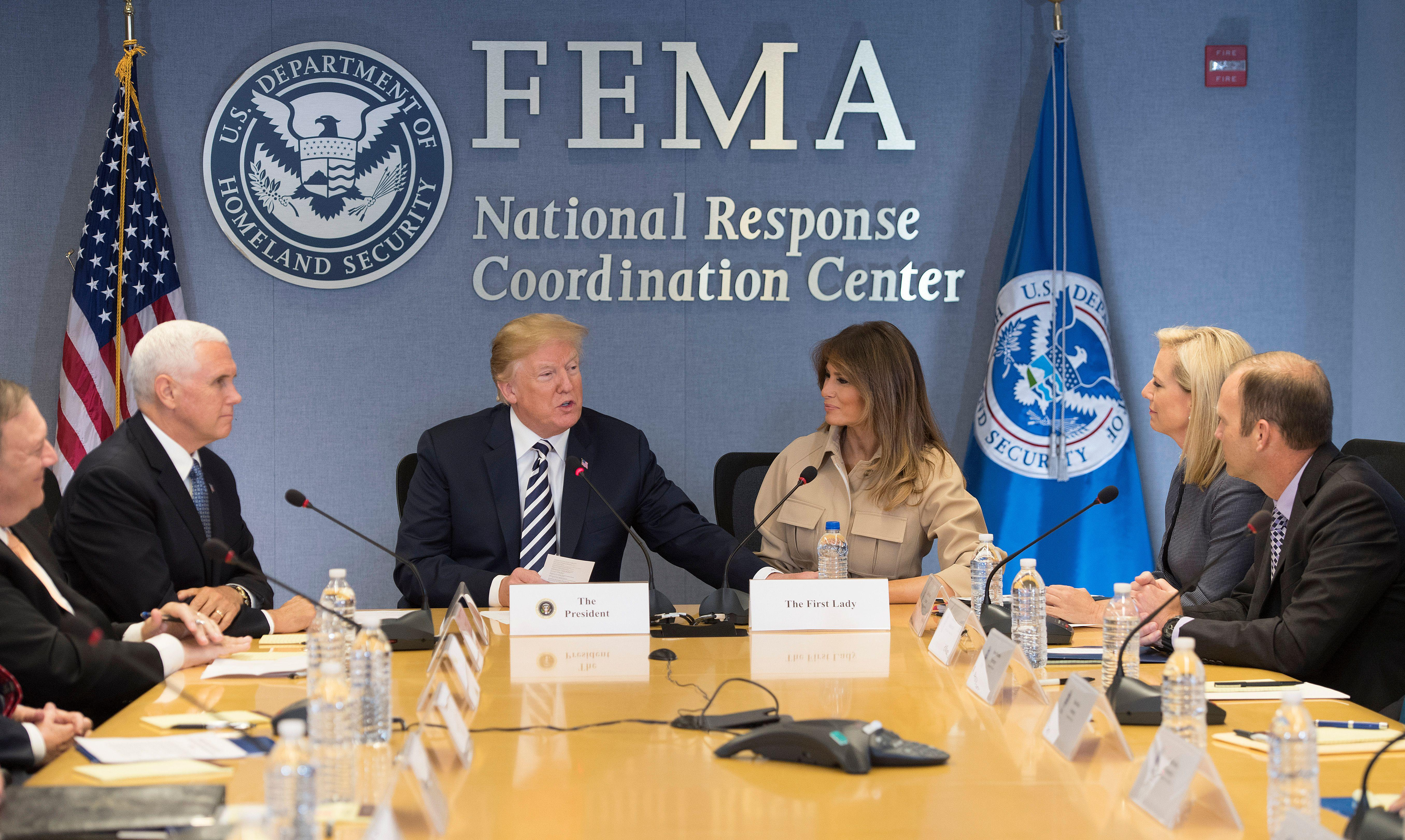 President Donald Trump, Vice President Mike Pence, and First Lady Melania Trump visit the Federal Emergency Management Agency Headquarters and attend a 2018 Hurricane Briefing in Washington, D.C. on June 6, 2018.