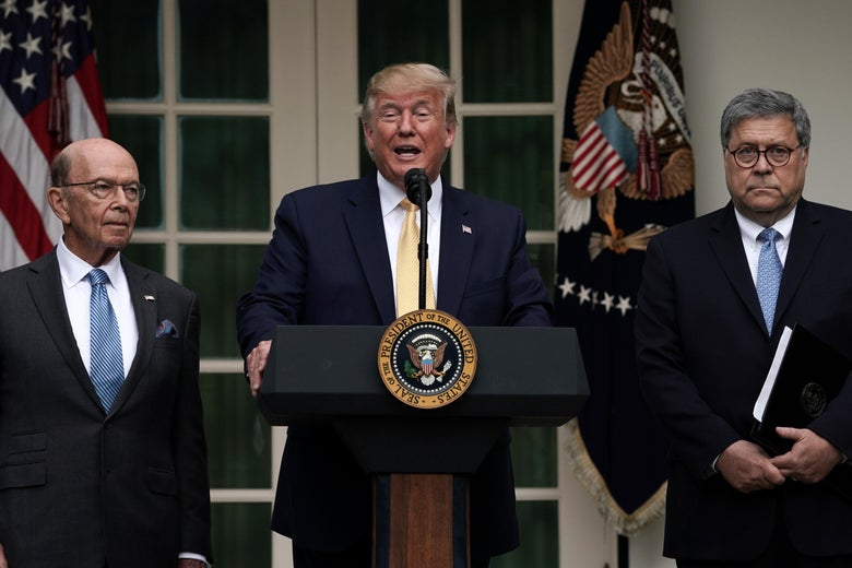 Trump standing at the podium saying words flagged by Barr and Ross looking glum.