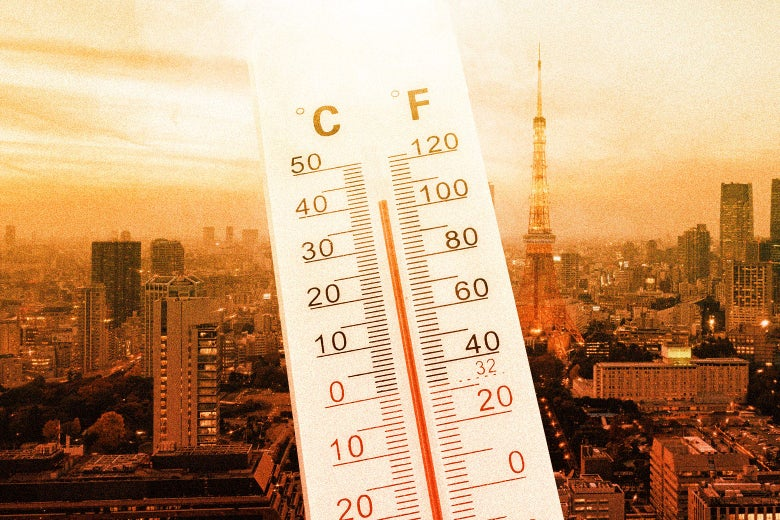 Collage of a thermometer showing a temperature above 100 F laid over a photo of the Tokyo skyline.