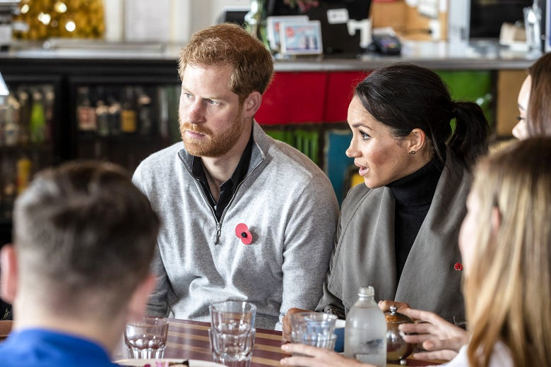 Prince Harry and his wife, Meghan Markle, meet with representatives of mental health projects at Maranui Café