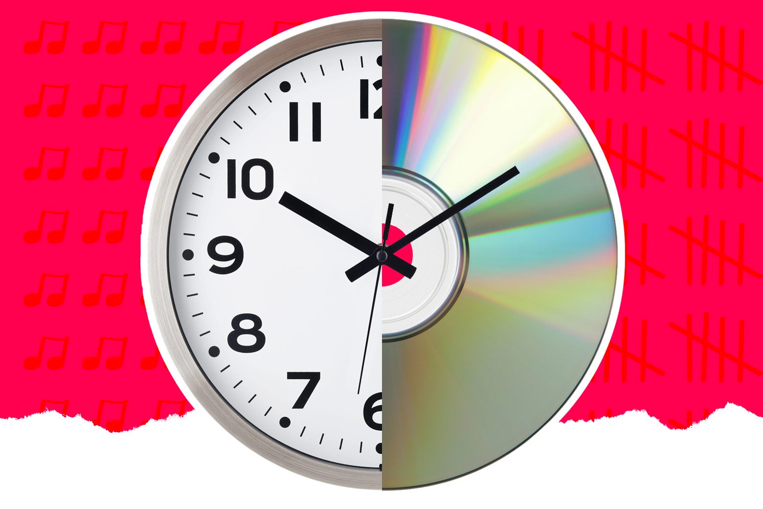 Diptych of a clock and a compact disc.
