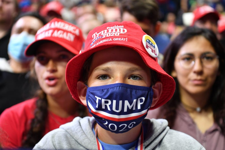 "Trump campaign ""strongly"" encourages face masks at outdoor rally in New Hampshire. - Slate"