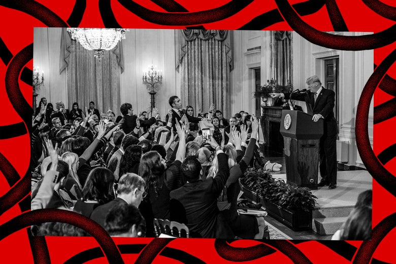 US President Donald Trump points to journalist Jim Acosta(Center L) from CNN during a post-election press conference in the East Room of the White House in Washington, DC on November 7, 2018.