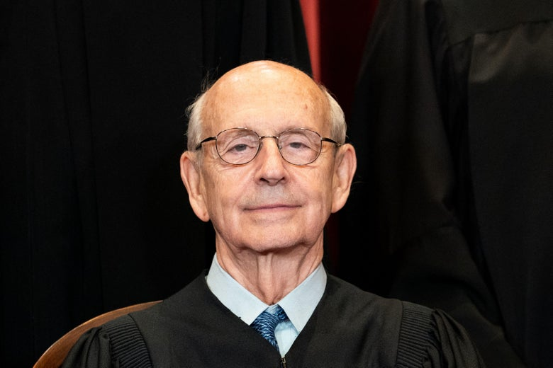 Associate Justice Stephen Breyer wears his robes and sits during a group photo session of the Justices at the Supreme Court in Washington, D.C., on April 23, 2021.