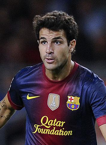 Spanish footballer Cesc Fàbregas plays with FC Barcelona during a match against Valencia CF on Sept. 2, 2012, in Barcelona.
