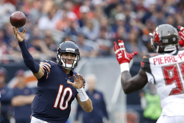 CHICAGO, IL - SEPTEMBER 30:  Quarterback Mitchell Trubisky #10 of the Chicago Bears passes the football against the Tampa Bay Buccaneers in the first quarter at Soldier Field on September 30, 2018 in Chicago, Illinois.  (Photo by Joe Robbins/Getty Images)