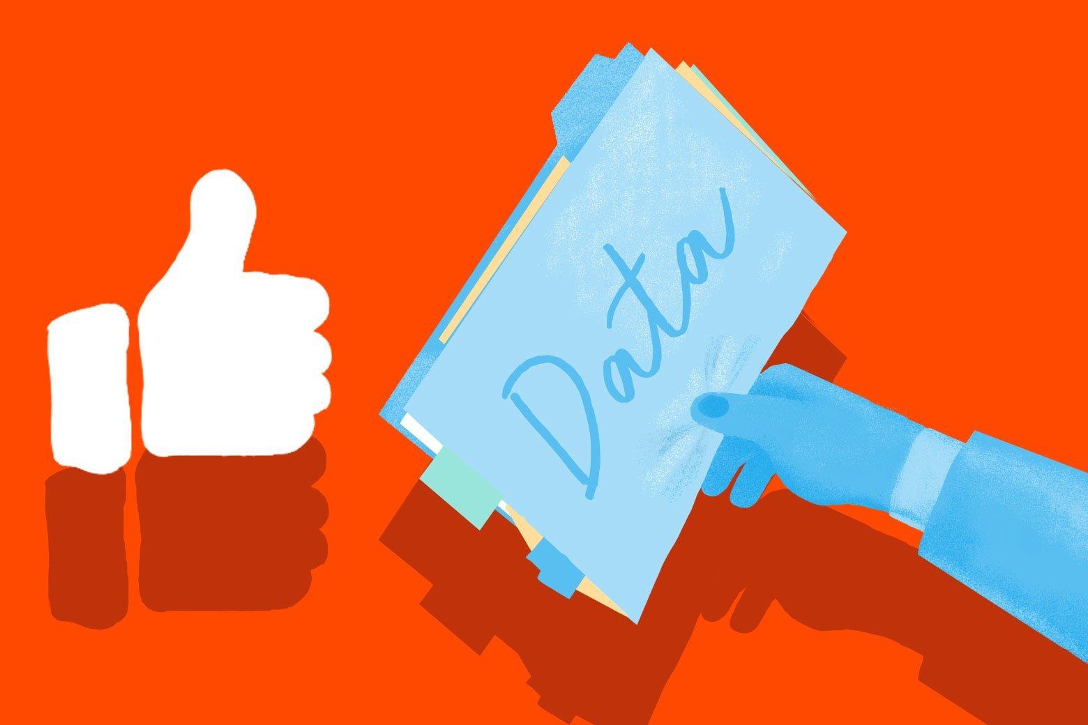 A Facebook thumbs-up receiving a dossier of data.