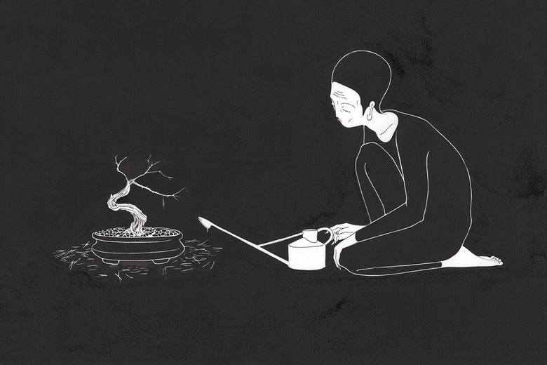 A woman watering a miniature tree.