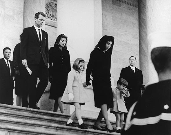 President's Family leaves Capitol after Ceremony. Caroline Kennedy, Jacqueline Bouvier Kennedy, John F. Kennedy, Jr. (2nd row) Attorney General Robert F. Kennedy, Patricia Kennedy Lawford (hidden) Jean Kennedy Smith (3rd Row) Peter Lawford. United States Capitol, East Front, Washington, D.C.