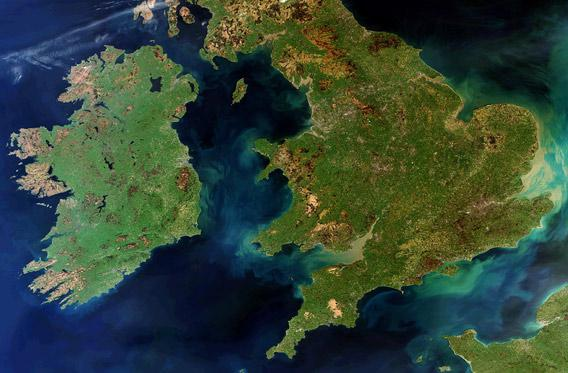 Envisat view of Great Britian, Ireland, and France from March 2012