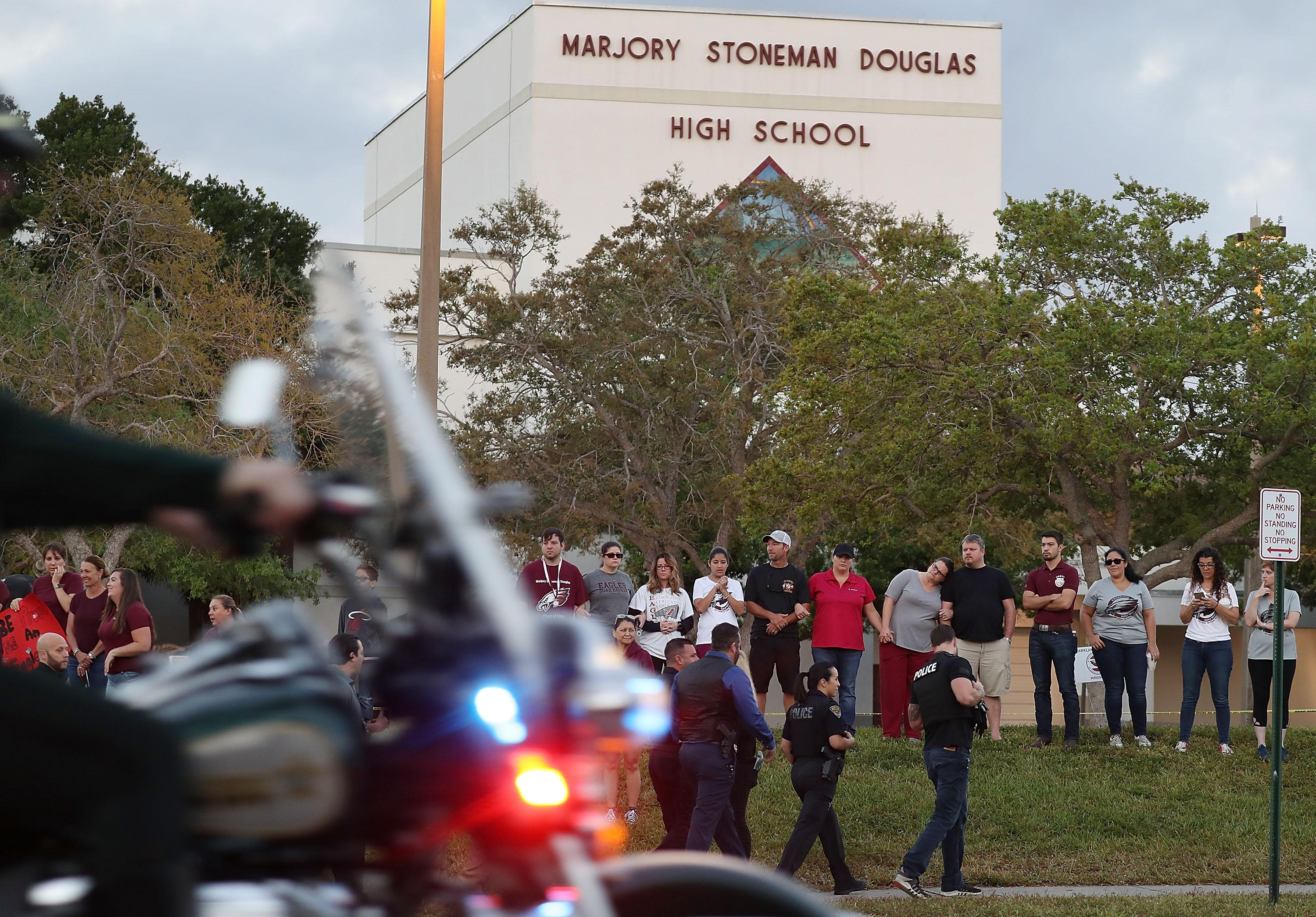 Marjory Stoneman Douglas High School as students arrive for the first time since the shooting to attend classes on February 28, 2018 in Parkland, Florida.