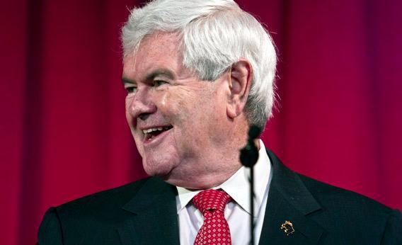 Newt Gingrich speaks to students.