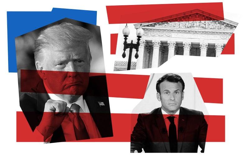 Donald Trump, Supreme Court building, and Emmanuel Macron
