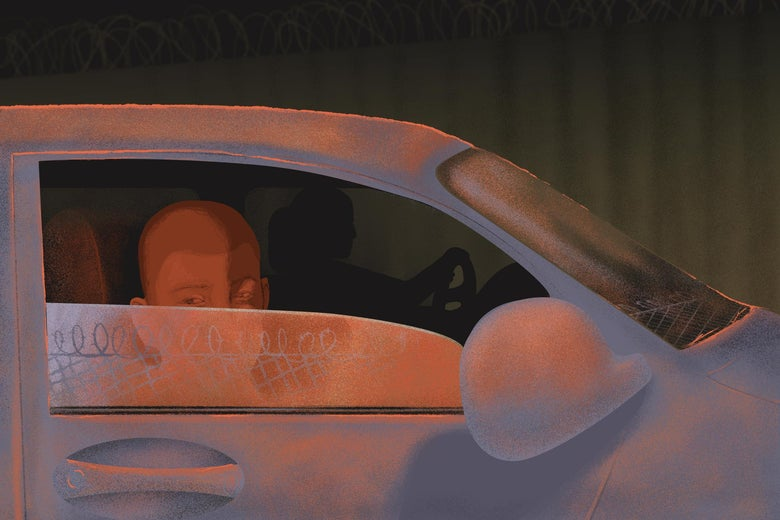 Illustration of a boy looking out of the driver side window at a barbed wire fence.