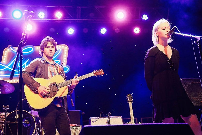 Conor Oberst and Phoebe Bridgers onstage.