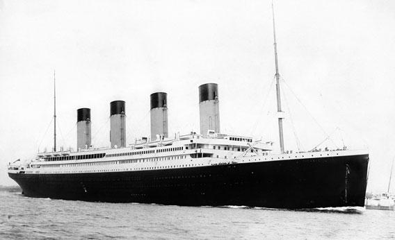Titanic departing Southampton on April 10, 1912.