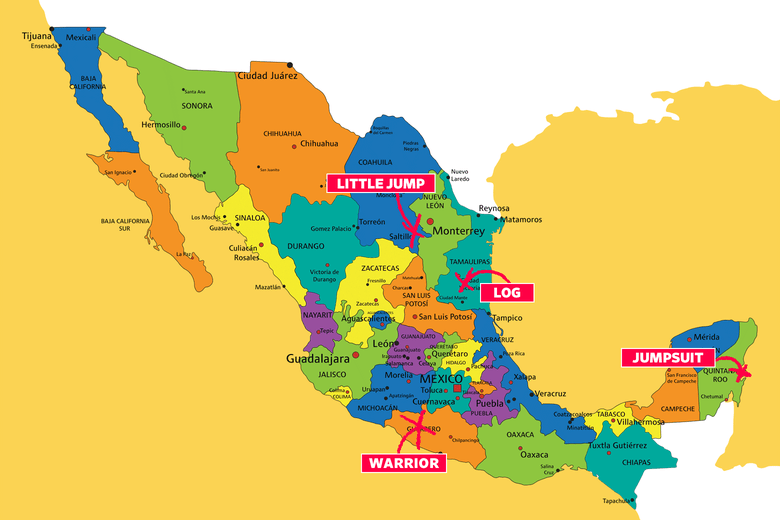 Map of Mexico with city names erroneously translated as Little Jump, Log, Jumpsuit, and Warrior