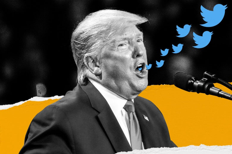 Donald Trump with Twitter birds flying out of his mouth as he speaks at a mic.