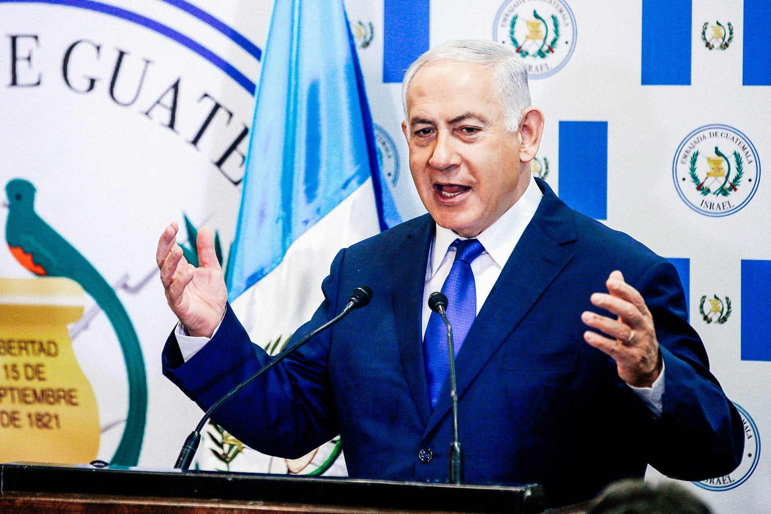 Israeli Prime Minister Benjamin Netanyahu speaks during the inauguration ceremony of the Guatemalan Embassy in Jerusalem on Wednesday.