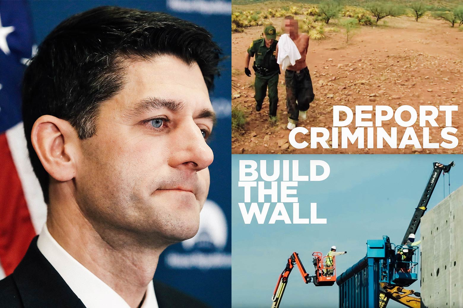 "House Speaker Paul Ryan (R-WI) participates in his weekly news conference on Capitol Hill December 5, 2017 in Washington, DC, and two stills from a Trump campaign ad, ""BUILD THE WALL"" and ""DEPORT CRIMINALS""."