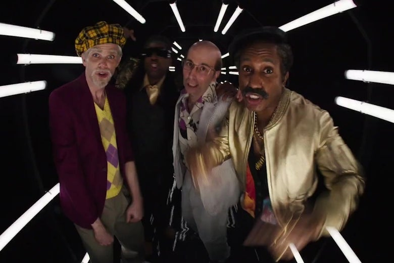 Mikey Day, Kenan Thompson, Kyle Mooney, and Chris Redd, all made up like old people dancing in a still from Saturday Night Live.