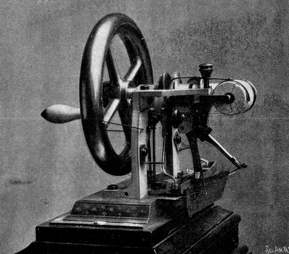 The Elias Howe machine, September 10, 1846. Earliest model filed in Patent Office.