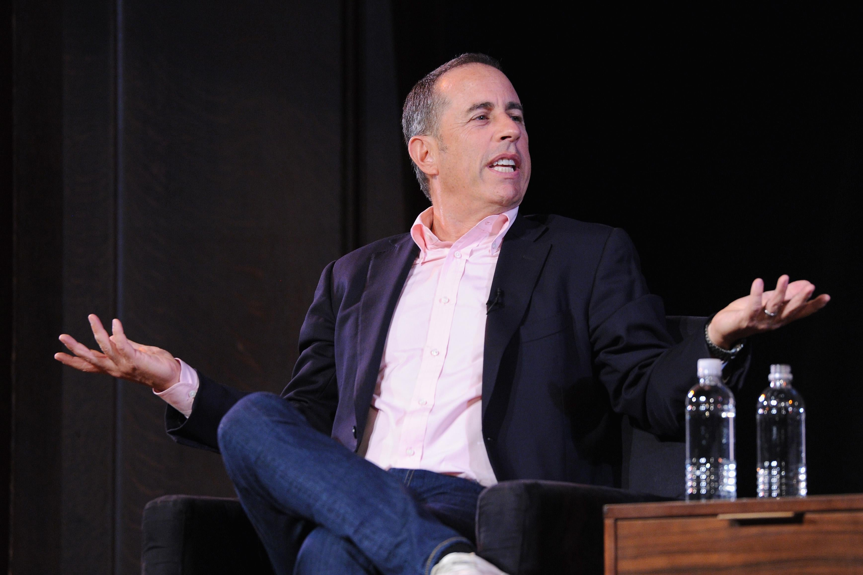 NEW YORK, NY - OCTOBER 06:  Jerry Seinfeld speaks onstage during the 2017 New Yorker Festival at New York Society for Ethical Culture on October 6, 2017 in New York City.  (Photo by Craig Barritt/Getty Images for The New Yorker)