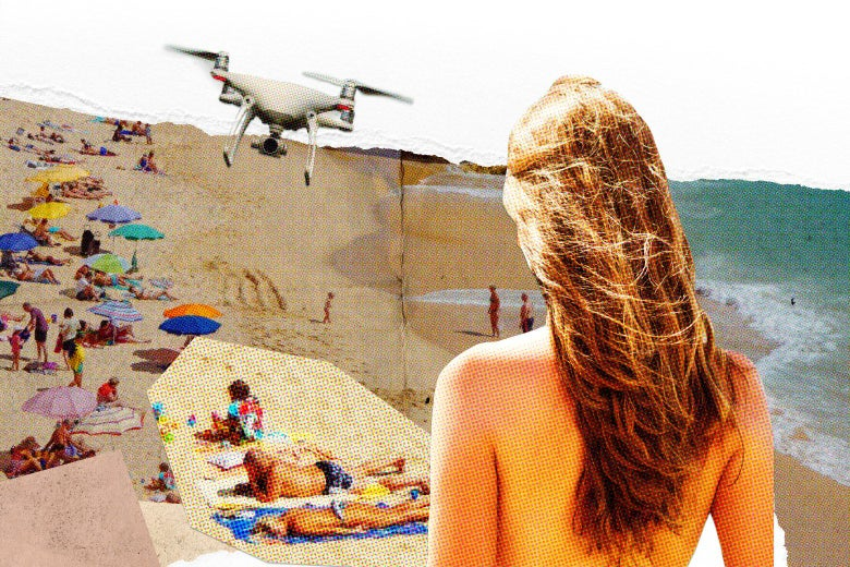 Photo illustration of a woman with out a top in front of a crowded beach with a drone.
