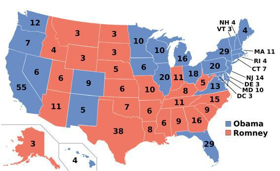 Electoral college map for the 2012 United States presidential election.