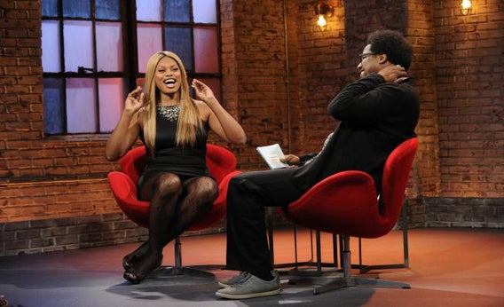 Laverne Cox and W. Kamau Bell on the Sept. 11, 2013 Totally Biased
