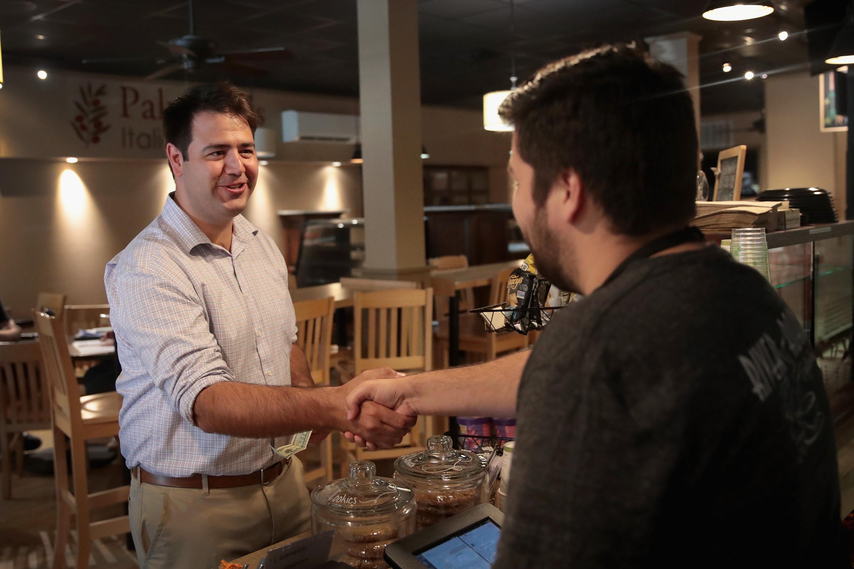 Ohio Democratic congressional candidate Danny O'Connor visits a coffeehouse in Ohio.