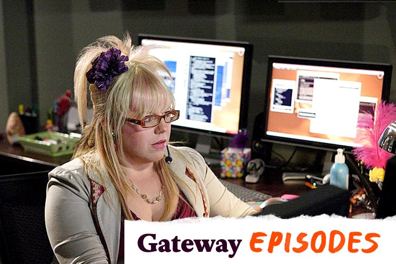 Kirsten Vangsness as Penelope Garcia sits at a desk with multiple computer monitors. In the bottom right corner, a label: Gateway Episodes.
