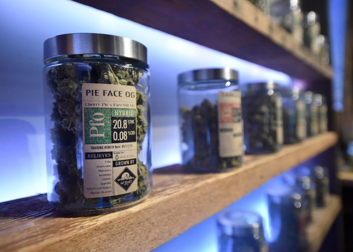 Products are displayed for sale at Oregon's Finest, a marijuana dispensary.