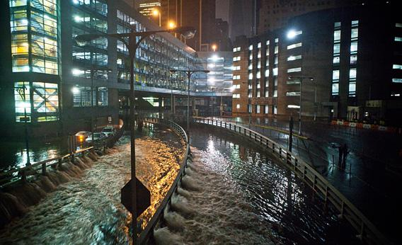 Flooding in downtown New York's Financial District on Monday night.