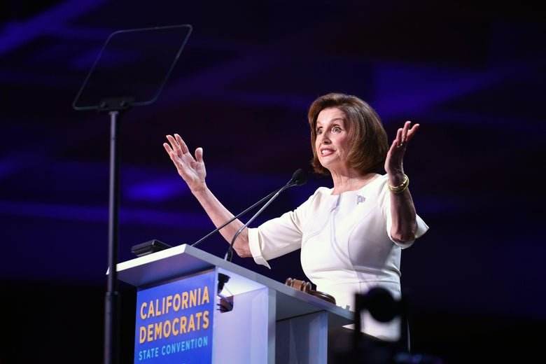 Speaker of the House Nancy Pelosi speaks during the the 2019 California Democratic Party State Convention at Moscone Center in San Francisco on June 1, 2019.
