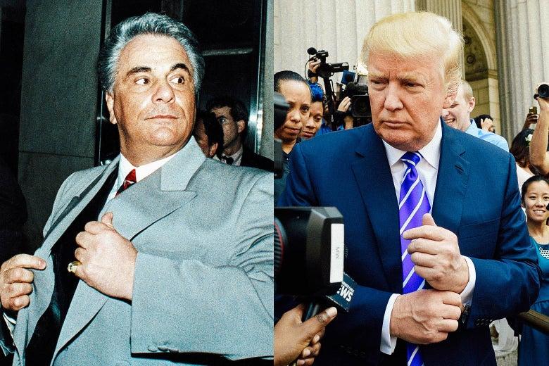 Photos side by side of former Mafia boss John Gotti and President Donald Trump.