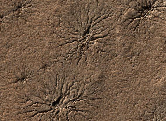 Spider-like terrain on Mars