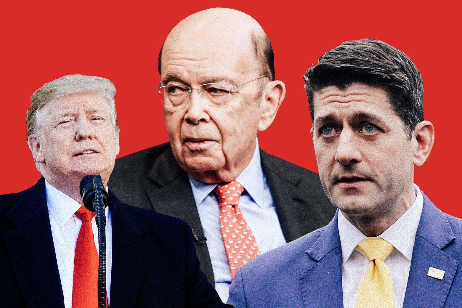 President Donald Trump, Commerce Secretary Wilbur Ross, and former House Speaker Paul Ryan.