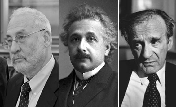 Jewish Nobel laureates Joseph Stiglitz, Albert Einstein, and Elie Wiesel.