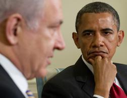 US President Barack Obama listens alongside Israel's Prime Minister Benjamin Netanyahu . Click image to expand.