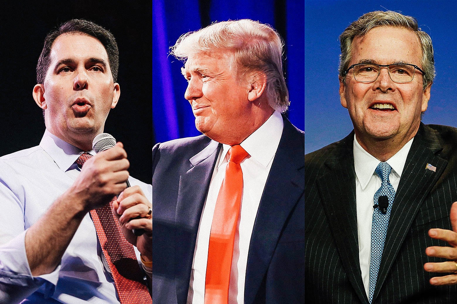 Left and center photos by Scott Olson/Getty Images. Right photo by Justin Sullivan/Getty Images. Scott Walker, Donald Trump, and Jeb Bush in 2015.
