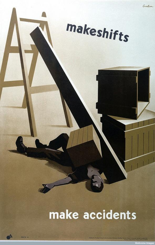 L0026401 A makeshift arrangement of crates, a step-ladder and a