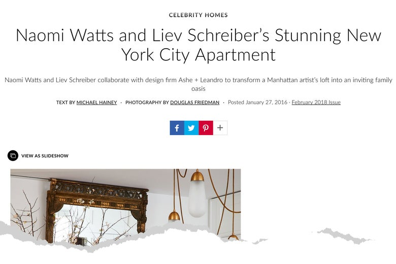 Screen grab of Architectural Digest article about Naomi Watts and Lieve Schreiber's Tribeca loft.