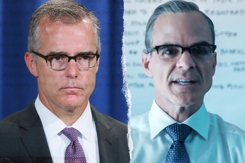 Andrew McCabe, and Michael Kelly as Andrew McCabe in The Comey Rule.