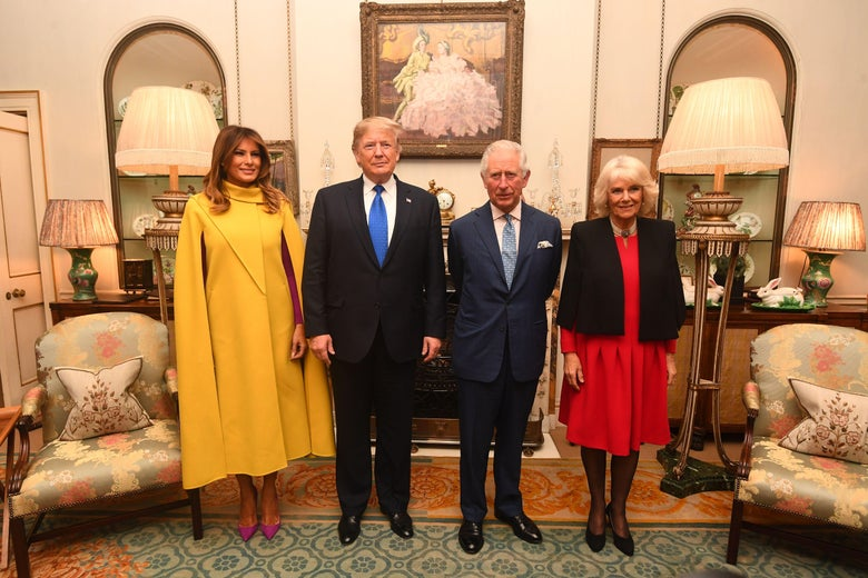 Britain's Prince Charles, Prince of Wales (2nd R) and Britain's Camilla, Duchess of Cornwall (R) meet US President Donald Trump (2nd L) and US First Lady Melania Trump (L) pose for a photograph at Clarence House in central London on December 3, 2019, ahead of the NATO alliance summit. - NATO leaders gather Tuesday for a summit to mark the alliance's 70th anniversary but with leaders feuding and name-calling over money and strategy, the mood is far from festive. (Photo by Victoria Jones / POOL / AFP) (Photo by VICTORIA JONES/POOL/AFP via Getty Images)