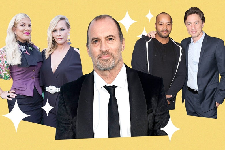 Photo collage of Scott Patterson, Tori Spelling with Jennie Garth, and Donald Faison with Zach Braff, surrounded by four-pointed stars